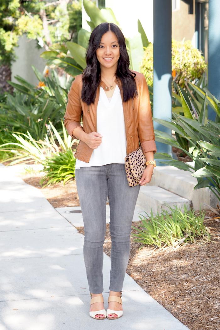 Camel jacket + gray jeans + white blouse + leopard bag