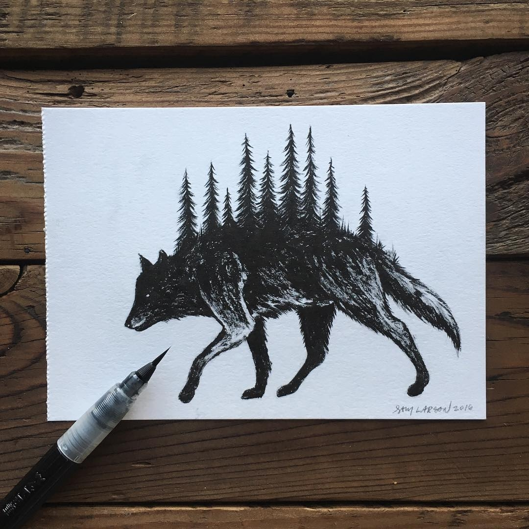 07-Forest-Wolf-Sam-Larson-Injection-of-Inspiration-in-Diverse-Drawings-www-designstack-co