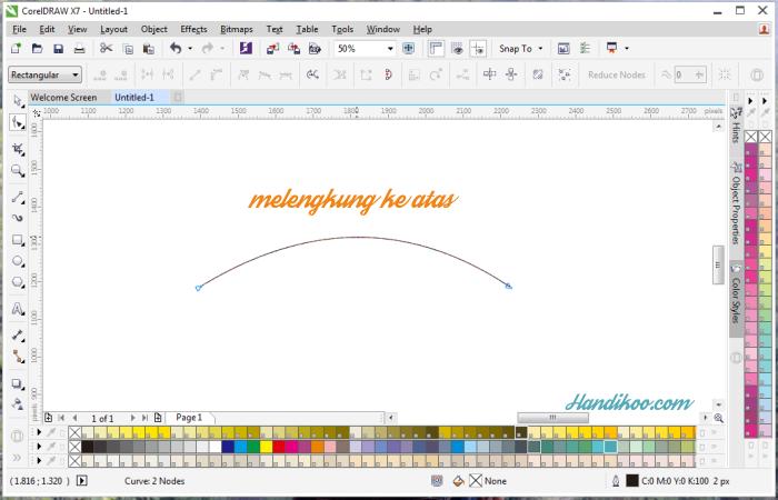Belajar CorelDraw dan Tutorial CorelDraw - membuat garis garis melengkung CorelDraw