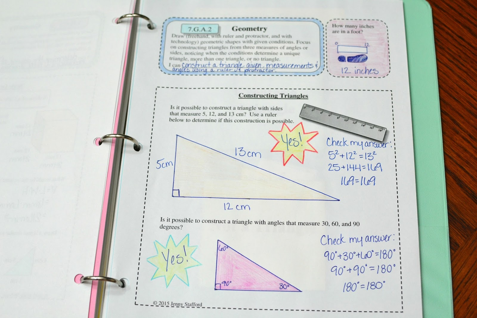 Unique Triangles 7th Grade Worksheets