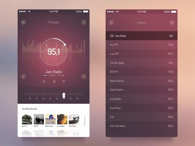 FM Radio App UI for iOS 7