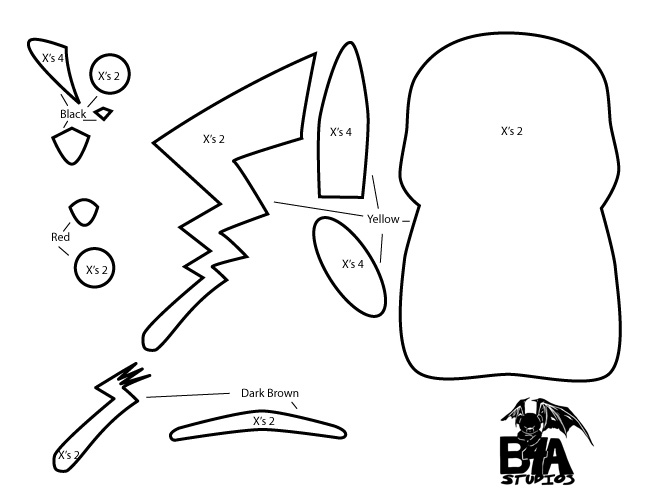 How to make a kawaii pikachu plush from felt for Felt plushie templates