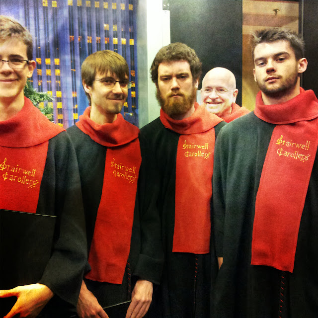 Hilarious shot of ex-Glebe students turned Stairwellers taken in Rogers Ottawa TV studio before a taping