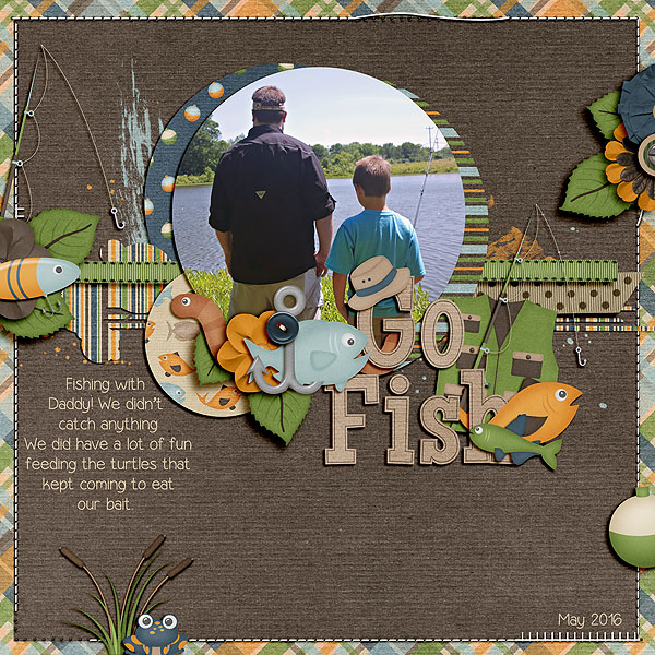 A digital scrapbooking layout by Shawn Bear Scraps about fishing