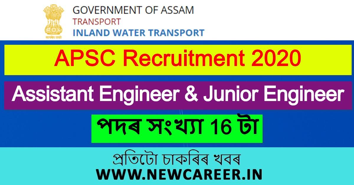 Assam, Inland Water Transport Department Recruitment 2020: Apply for 16 Assistant Engineer & Junior Engineer Posts