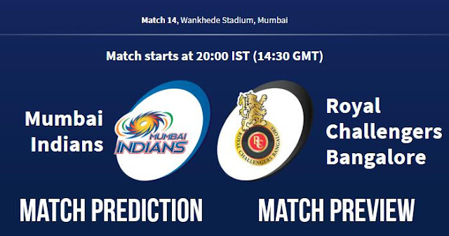 IPL 2018 Match 14 MI vs RCB Match Prediction, Preview and Head to Head Who Will Win