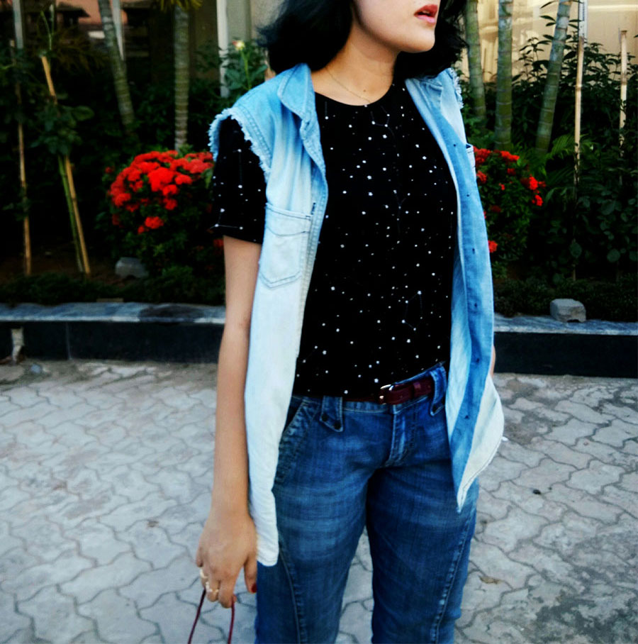 MangoblackTOP, blueJeans ,Levi's Denim Vest,Zara Red patent Heel,indianfashionblogger