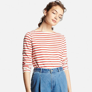 Uniqlo women striped boat neck breton top