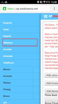 Penarikan Uang dari Situs Xpsindonesia