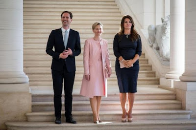Photos: Husband of Luxembourg's gay Prime minister joins wives of other NATO leaders for a photo op in Brussel