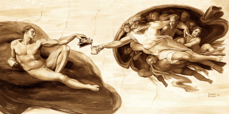 06-Michelangelo-The-Creation-of-Adam-Karen-Eland-Coffee-and-Water-Recreate-Famous-Paintings-with-a-Difference-www-designstack-co