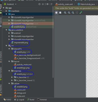 contoh gambar yang sudah dimasukkan ke drawable di android studio