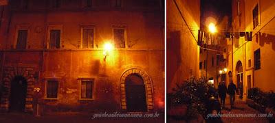 Atmosfera noturna em Trastevere