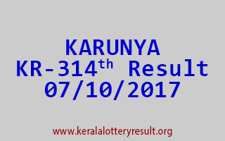 KARUNYA Lottery KR 314 Results 7-10-2017