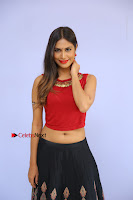 Telugu Actress Nishi Ganda Stills in Red Blouse and Black Skirt at Tik Tak Telugu Movie Audio Launch .COM 0001.JPG