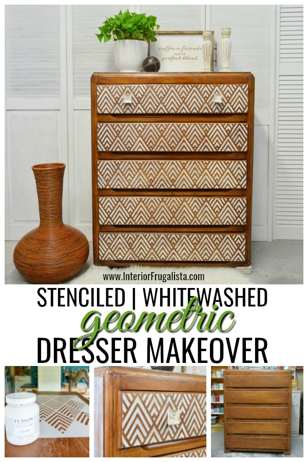 Stenciled Whitewashed Geometric Dresser Makeover
