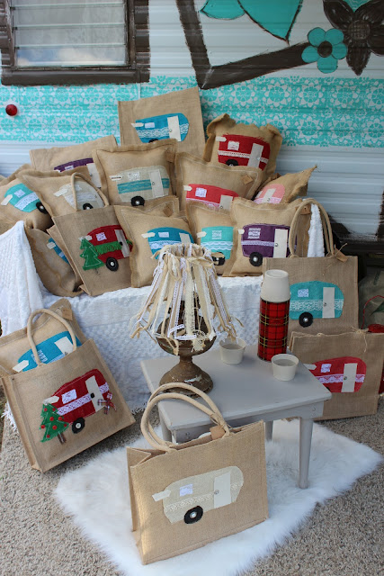 happy camper burlap pillows