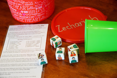 teacher gift idea classroom farkle game with students photos