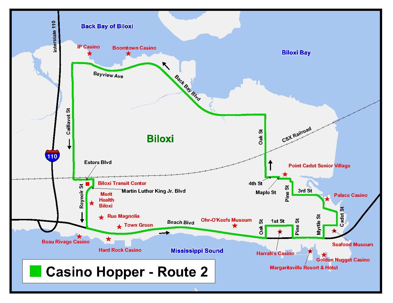 Mississippi Casinos Map