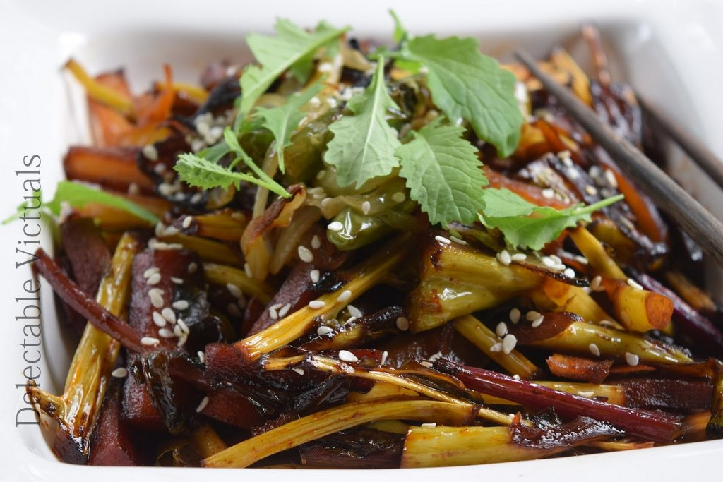 Stems, Stems, Stems: Broccoli, Kohlrabi, Kale Stem Kinpira satueed Japanese vegetarian
