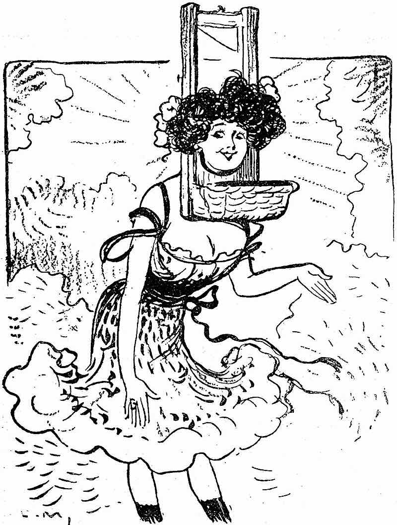 from a 1908 French comedy publication, happy woman in a guillotine cartoon