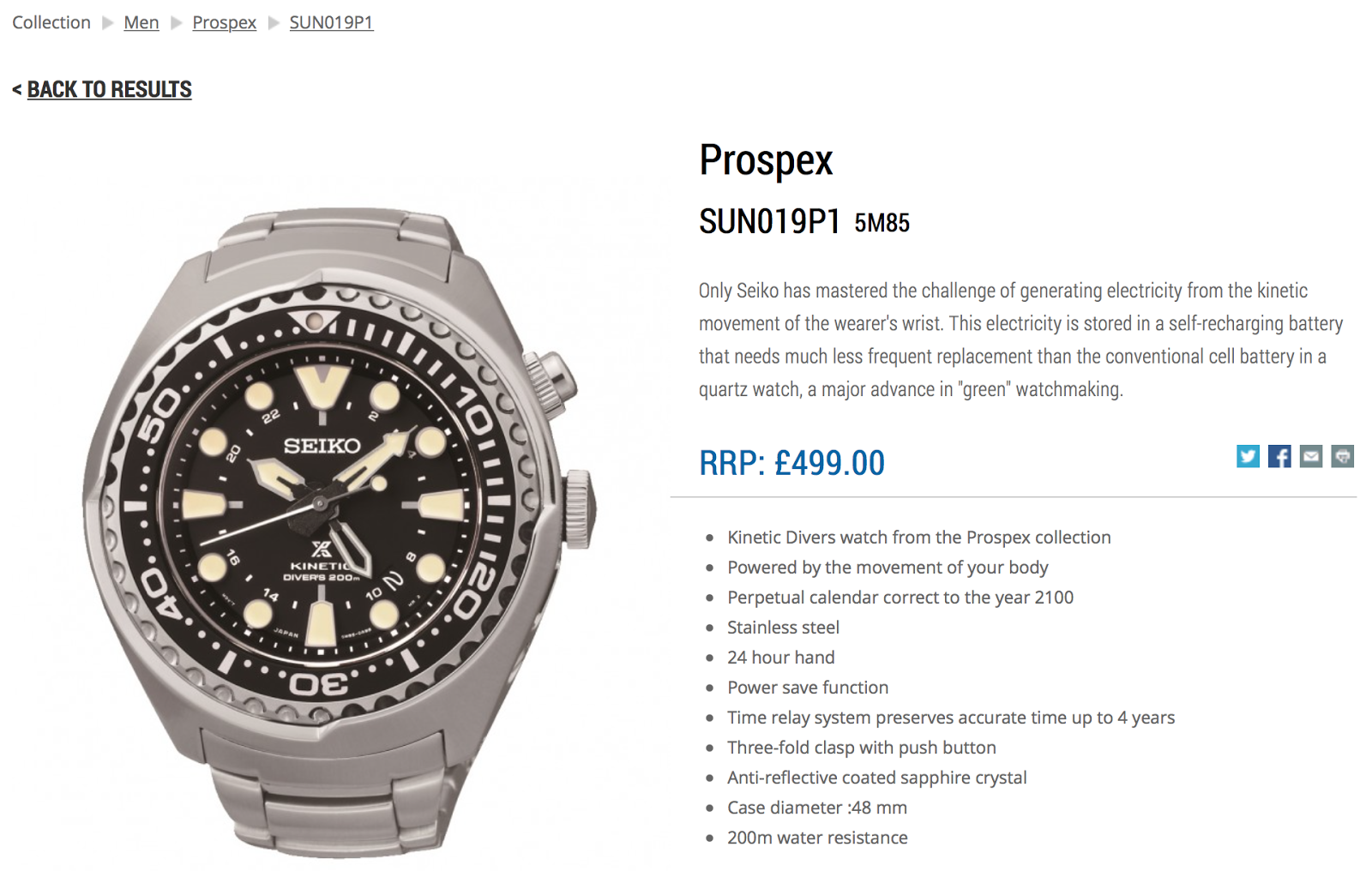 C-segment Wrist Watches: Seiko Prospex Kinetic GMT model