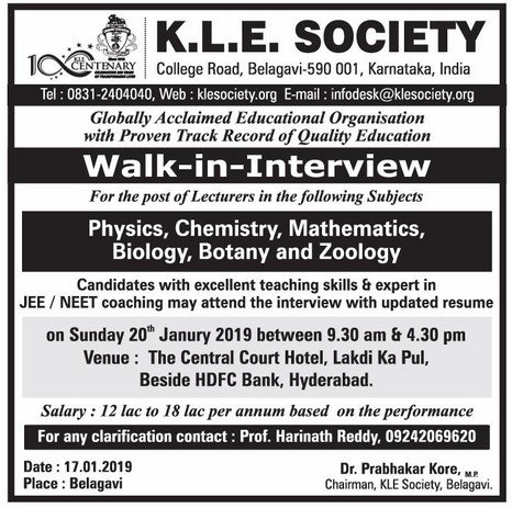 K L E Society, Belagavi, Wanted Lecturers - Faculty Teachers