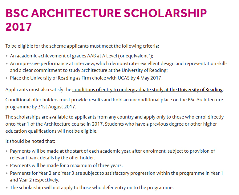 University of Reading UK is delighted to offer BSc Architecture Scholarship for International Students