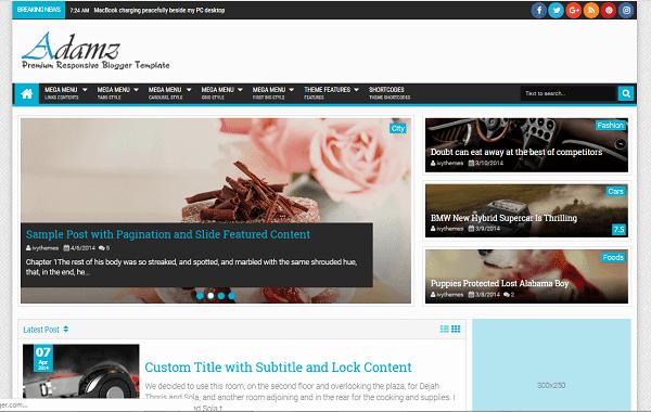 Adamz V2.1 Premium Version Blogger Theme Free Download