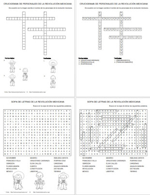 Revolución Mexicana - Crucigramas - Sopa de letras - Material Didáctico