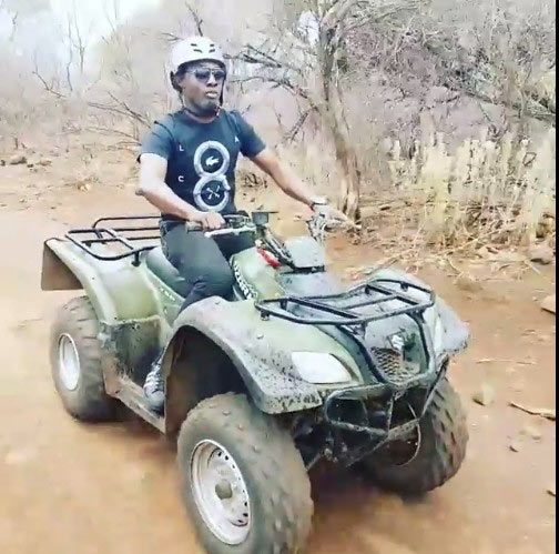 Comedian AY and his friends ride quad bike in South Africa