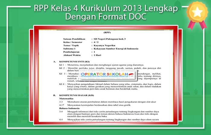RPP Kelas 4 Kurikulum 2013 DOC