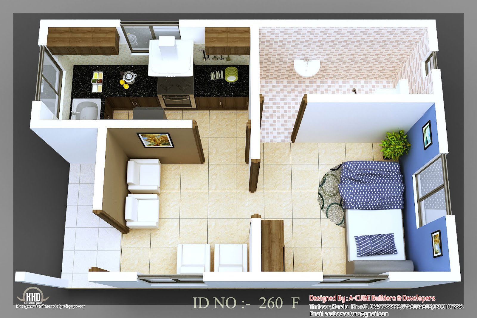 3d isometric views of small house plans kerala home for One bedroom house interior design