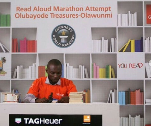 Nigerian man, Olawunmi Bayode attempts to break a Guinness World Record by reading aloud for 120-hours