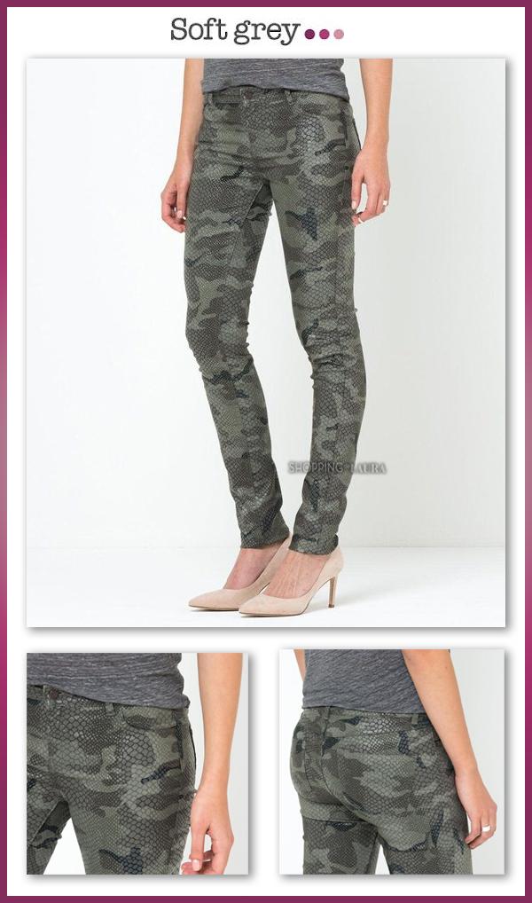 Pantalon Slim style camouflage SOFT GREY