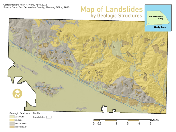 Map of Landslides by Geographic Structures, San Bernardino County