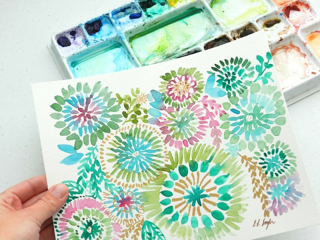 Watercolor sunburst florals by Elise Engh