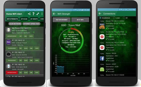 معرفة من يسرق منك الأنترنت عبر تطبيق Wifi Alert Wifi Analyzer