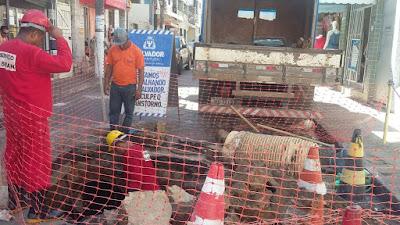 Prefeitura executa serviço de recuperação da cratera da Vila Matos
