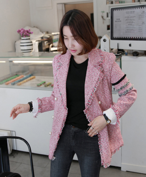 Frayed Trim Double-Breasted Tweed Jacket