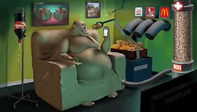 Ilustración comida chatarra y sobre peso