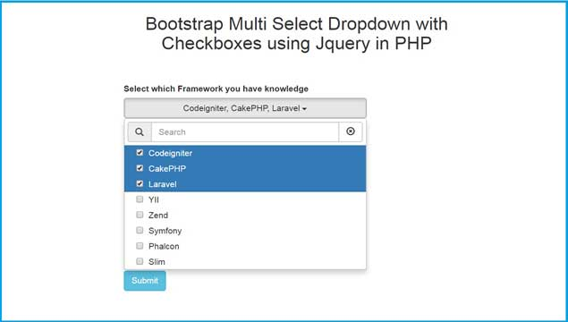 Bootstrap Multi Select Dropdown with Checkboxes using Jquery in PHP