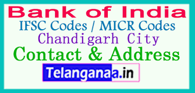 Bank of India IFSC Codes MICR Codes in Chandigarh City