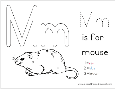 Free for kids: Mouse colour by numbers