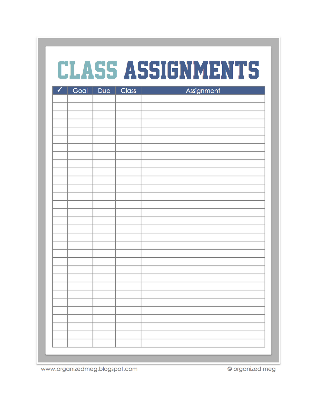Class Assignments