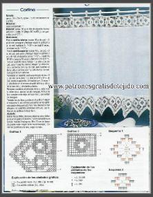 molde y patrones de cortina tejida con ganchillo