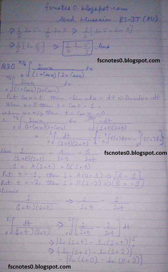 FSc ICS Notes Math Part 2 Chapter 3 Integration Exercise 3.6 question 29 - 30 by Asad Hussain 1