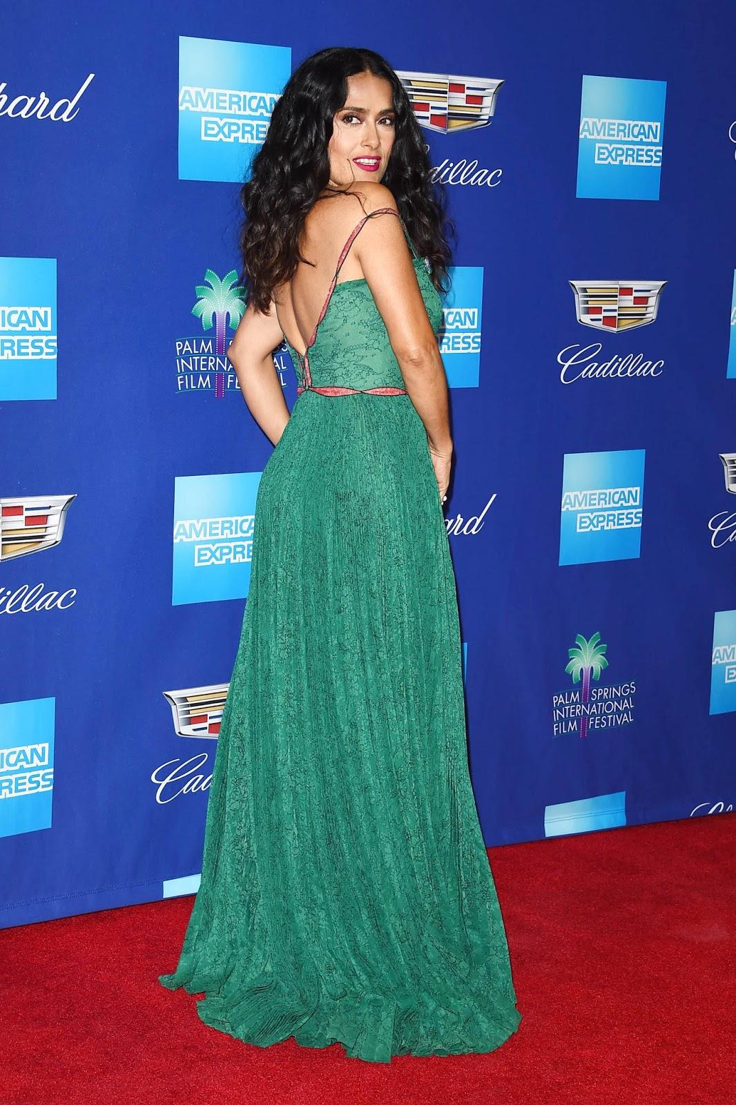Salma Hayek Posing at 29th Annual Palm Springs International Film Festival Awards Gala