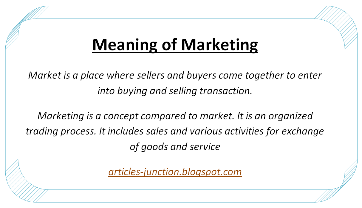 Articles Junction: What is Marketing? Definition, Meaning ... Marketing Definition