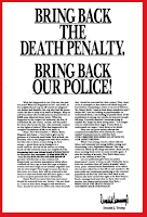 "Donald Trump's 1989 Ad in New York Newspapers says ""Bring Back The Death Penalty. Bring Back The Police!"""